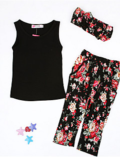 Girls' Floral Sets Spring Summer Fall Sleeveless Clothing Set Floral Black