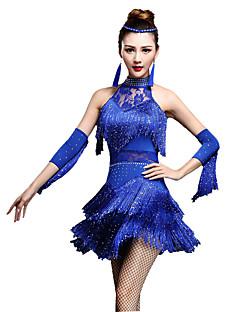 お買い得  -ラテンダンス ドレス ショーツ 女性用 性能 ナイロン クリスタル/ラインストーン タッセル ノースリーブ ハイウエスト ドレス グローブ