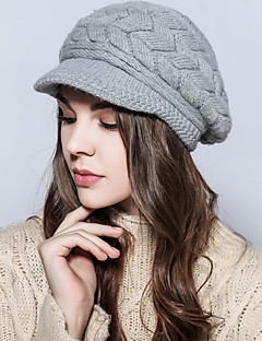 Casual Autumn winter Rabbit hair weaving knitted wool warm protection ears peaked cap