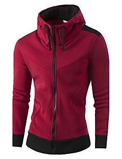 billige Hættetrøjer og sweatshirts til herrer-Herre Aktiv Langærmet Høj krave Hættetrøje Jakke - Farveblok Hør
