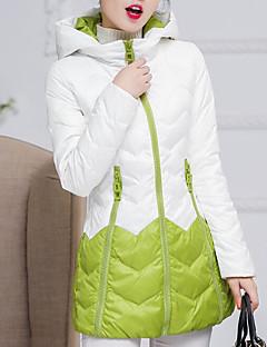 Damen Daunen Mantel Einfach Lässig/Alltäglich Einfarbig-Polyester Weiße Entendaunen Langarm Grün / Lila