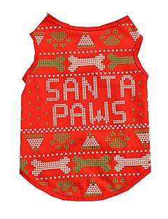 ネコ 犬 ベスト 犬用ウェア キュート クリスマス ボーン レッド