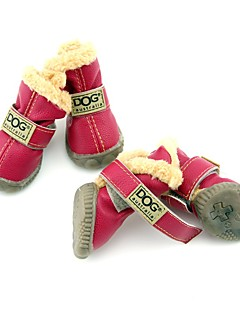 Dog Shoes & Boots Fashion / Keep Warm Winter Solid Red / Green / Blue / Black / Wine PU Leather
