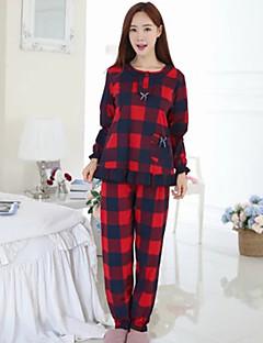 tanie Piżamy-Damskie Bawełna Okrągły dekolt Piżama Pled
