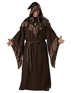 cheap Cosplay & Costumes-Cosplay Costumes Wizard/Witch Halloween Brown Print Cotton Dress / Belt / Hat