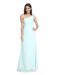 cheap Imperial Blue-Sheath / Column One Shoulder Floor Length Chiffon Bridesmaid Dress with Flower Side Draping by LAN TING BRIDE®