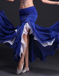 baratos Roupas de Dança do Ventre-Dança do Ventre Tutos e Saias Mulheres Espetáculo Poliéster Fibra de Leite Fru-Fru Natural Saia