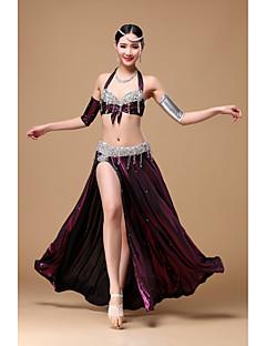 Dança do Ventre Roupa Mulheres Actuação Poliéster Miçangas Frufru 5 Peças Sem Mangas Caído Saia Sutiã Braceletes Xale de Dança do Ventre