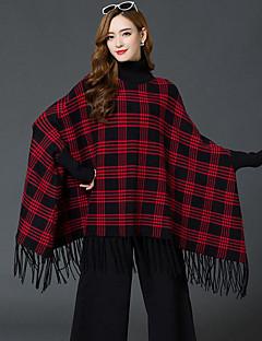 בינוני (מדיום) סתיו / חורף חוטי זהורית / אקריליק שרוול ארוך גולף ורוד / אדום / שחור משובץ סגנון רחוב יום יומי\קז'ואל סוודר ארוך נשים