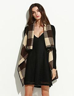 cheap Sale-Women's Chic & Modern Coat-Color Block,Check Pattern