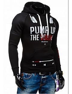 cheap Men's Hoodies & Sweatshirts-Men's Sports Active Long Sleeve Hoodie - Letter Black L / Spring / Fall