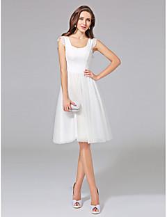 billiga A-linjeformade brudklänningar-A-linje Scoop Neck Knälång Bomull / Tyll Bröllopsklänningar tillverkade med Spets av LAN TING BRIDE®