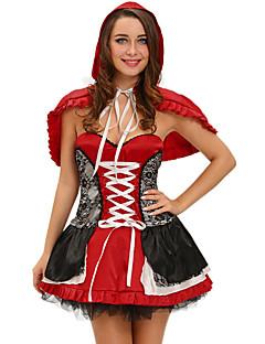 Satuteema Pieni Punahilkka Cosplay-Asut Naiset Halloween Karnevaali Festivaali / loma Halloween-asut Color Block
