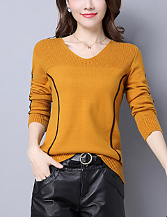 Women's Going out Casual/Daily Street chic Regular Pullover,Striped V Neck Long Sleeves Wool Acrylic Winter Fall Medium Stretchy