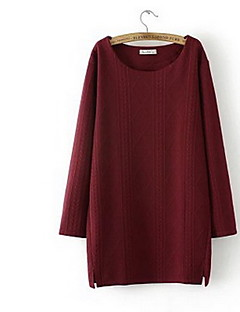 Women's Casual/Daily Sweatshirt Solid Round Neck Micro-elastic Cotton Long Sleeve Winter