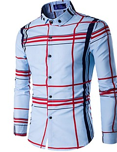 お買い得  メンズシャツ-男性用 シャツ カジュアル ボランダウン スリム チェック コットン