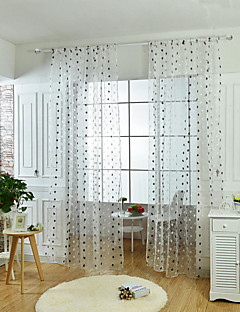 ワンパネル ウィンドウトリートメント 欧風 新古典主義 , 水玉柄 リビングルーム ポリエステル 材料 シアーカーテンシェード ホームデコレーション For 窓