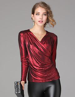 billige T-shirt-V-hals Dame - Ensfarvet T-shirt