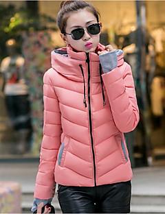 Manteau Rembourré Femme,Normal simple Décontracté / Quotidien Couleur Pleine-Coton Polypropylène Manches LonguesBleu Rose Rouge Blanc