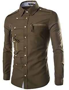 billige Herremote og klær-Bomull Tynn Klassisk krage Skjorte Herre - Ensfarget Militær / Langermet