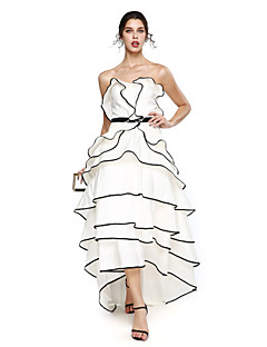cheap Celebrity Dresses-A-Line Sweetheart Neckline Asymmetrical Taffeta Prom / Formal Evening Dress with Sash / Ribbon / Tier by TS Couture® / High Low