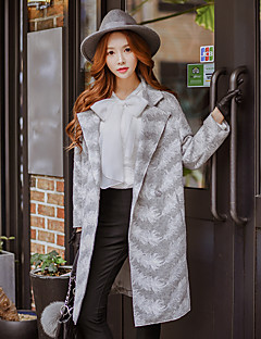DABUWAWA Women's Going out / Casual/Daily / Holiday Vintage / Street chic / Sophisticated CoatEmbroidered Shirt Collar Long Sleeve Fall / Winter Coat