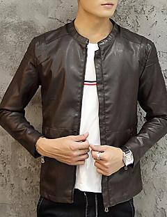 男性 カジュアル/普段着 / プラスサイズ ソリッド レザージャケット,シンプル レッド / ブラック / ブラウン ポリウレタン 長袖