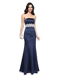 Trompetă / Sirenă Fără Bretele Lungime Podea Satin Seară Formală Rochie cu Mărgele Eșarfă / Panglică de TS Couture®