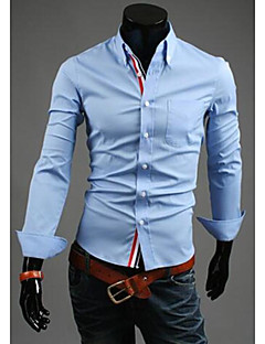 Men's Casual/Daily Work Simple Street chic Chinoiserie All Seasons Shirt,Solid Classic Collar Long Sleeves Cotton