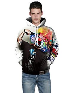 tanie Miesten hupparit ja collegepuserot-Męskie Rozmiar plus Aktywny Sport Długi rękaw Bluza z Kapturem - 3D Print Okrągły dekolt