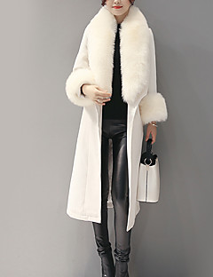 Women's Daily Vintage Winter Coat,Solid Long Sleeve Maxi Fur Trim