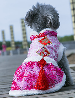 billiga Hundkläder-Hund Kappor / Klänningar Hundkläder Blomma Ros / Blå / Rosa Tyg / Silkesmaterial / Terylen Kostym För husdjur Dam Klassisk / Bröllop / Nyår