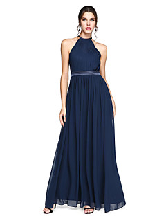 cheap Imperial Blue-A-Line Jewel Neck Ankle Length Chiffon Bridesmaid Dress with Draping Sash / Ribbon by LAN TING BRIDE®