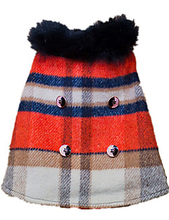 犬 コート ジャケット 犬用ウェア 保温 ファッション 格子柄 虹色