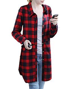 billige Plusstørrelser-Krave Løstsiddende Dame - Ternet Plusstørrelser Skjorte