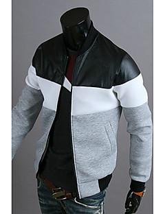 お買い得  メンズジャケット&コート-メンズ カジュアル/普段着 春 秋 ジャケット,シンプル カラーブロック レギュラー 長袖 パッチワーク