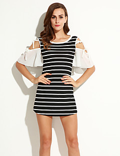 Women's Casual/Daily Street chic A Line Dress,Striped Round Neck Above Knee ½ Length Sleeve