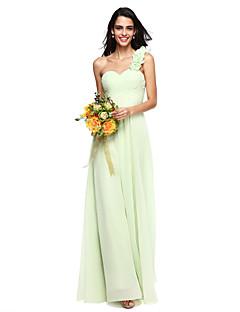 billige Grønn glamour-A-linje Enskuldret Gulvlang Chiffon Brudepikekjole med Blomst Bølgemønster Kryssdrapering av LAN TING BRIDE®