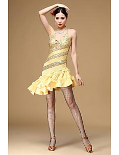 tanie Stroje do tańca latino-Taniec latynoamerykański Suknie Damskie Wydajność Poliester Cekiny Bez rękawów Wysoki Ubierać