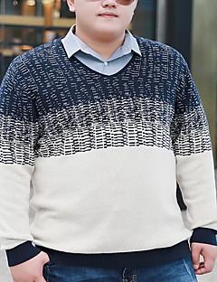 メンズ シンプル カジュアル/普段着 レギュラー プルオーバー,ストライプ ラウンドネック 長袖 コットン 春 秋 ミディアム マイクロエラスティック