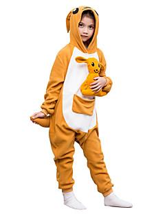 Kigurumi Pyjamas Kenguru Kokopuku Yöpuvut Asu Polar Fleece Oranssi Cosplay varten Lapset Animal Sleepwear Sarjakuva Halloween Festivaali