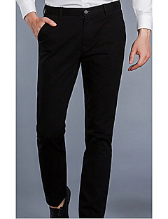Men's Mid Rise Micro-elastic Chinos Business Pants,Simple Straight Solid