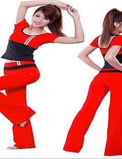 Mulheres Moletom Manga Curta Respirável Redutor de Suor Camiseta Calças Conjuntos de Roupas Blusas para Ioga Exercício e Atividade Física