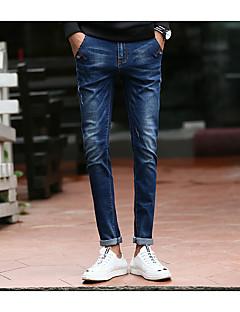 billige Herrebukser og -shorts-Herre Fritid Mikroelastisk Skinny Jeans Bukser, Mellomhøyt liv Bomull Ensfarget Vinter Høst Alle årstider