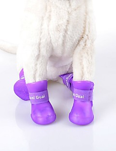 billiga Hundkläder-Katt Hund Skor och stövlar Vattentät Enfärgad Svart Purpur Ros Grön Blå För husdjur