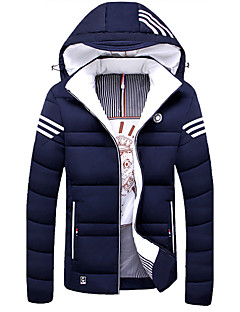 Men's Regular Padded Coat,Casual Daily Solid-Cotton Cotton Long Sleeves Hooded