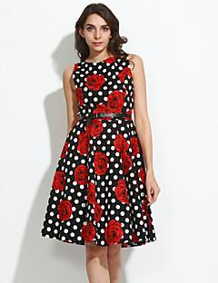 여성 칼집 드레스 캐쥬얼/데일리 스트리트 쉬크 플로럴,라운드 넥 무릎길이 민소매 면 여름 높은 밑위 스트레치 중간