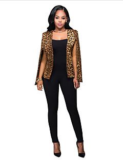 Damen Leopard Anspruchsvoll Party Arbeit Blazer Sommer Herbst Ärmellos Standard Polyester