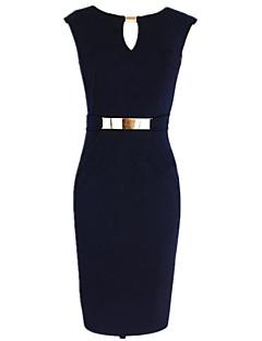 Dámské Jednoduchý Vintage Šik ven Práce Pouzdro Šaty Jednobarevné,Bez rukávů Kulatý Délka ke kolenům Léto Mid Rise Elastické Střední