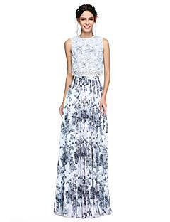 Γραμμή Α Με Κόσμημα Μακρύ Σιφόν Δαντέλα Φόρεμα Παρανύμφων με Πλισέ με LAN TING BRIDE®
